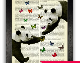 Panda Love Art Print, Pandas & Butterflies Poster, Panda Bear Wall Decor, Panda Bear Illustration, Panda Drawing Picture, Cute Panda Artwork