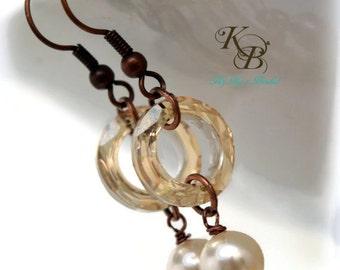 Winter Wedding Jewelry, Bridal Earrings, Pearl Earrings, Wedding Jewelry, Winter Wedding, Copper Earrings, Swarovski Pearls, Bridal Gift
