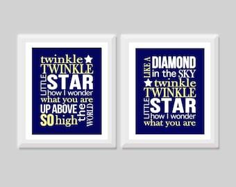 Twinkle Twinkle Little Star Wall Art Prints Set of 2, Star Nursery Art, Kids Wall Art, Nursery Rhyme, Gender Neutral Decor, Lullaby Art