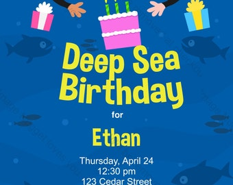 Scuba Diving Birthday Party Invitation - printable birthday invite for a underwater scuba diver's party
