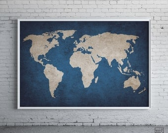 Navy Blue Rustic World Map Print Old World Map Indigo Cobalt Blue Large World Map Poster Navy World Map Map Decor Map Art