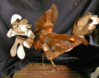 Happy Rooster Copper Sculpture