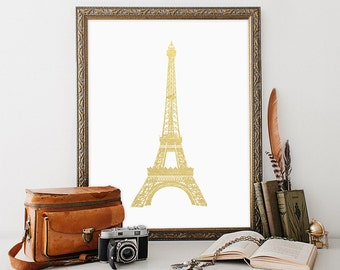 Eiffel Tower Printable, 8x10, Instant Download Eiffel Tower Art Print French Wall Art Paris Wall Art Eiffel Tower Wall Art Gold Foil White