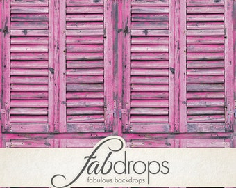 Pink Shutters Photography Backdrop, Pink Wood Window Photo Backdrop (FD6709)