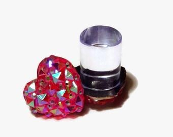 00g 0g 2g 4g 6g 8g 10g 12g 1 PAIR SUPER Sparkly Druzy Pink Heart Plugs Gauges Tunnels Stud Earrings Wedding Bridal Bridesmaid