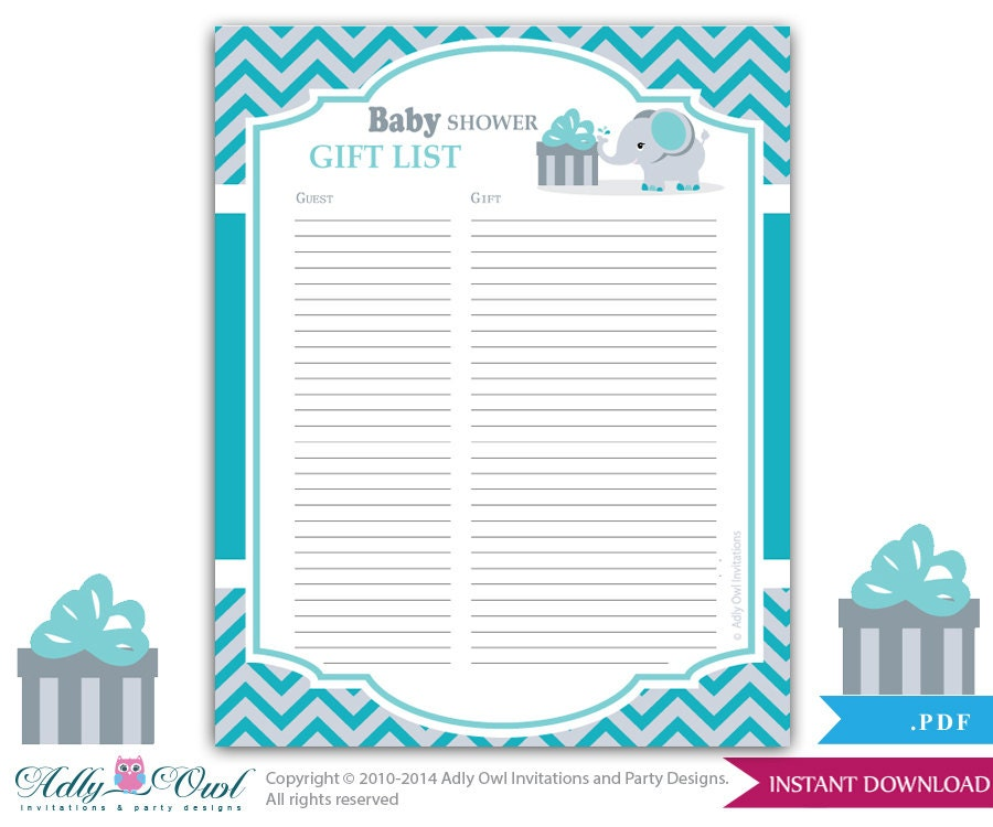 Baby Shower Gift List Printable ~ Boy elephant guest gift list sign in sheet card for