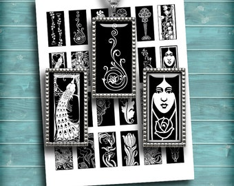 Art Nouveau Domino images Monochrome 1x2 inch printable images  for Pendants  Digital Collage Sheet - Instant Download