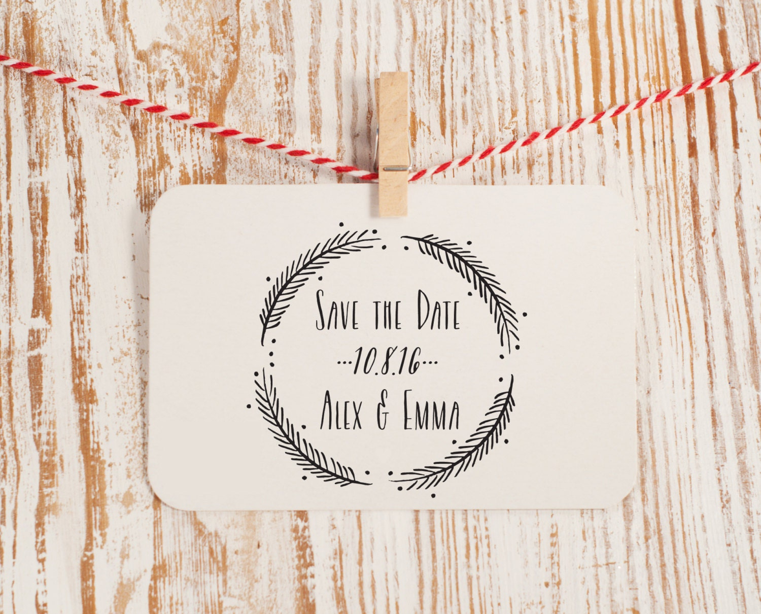 Custom Save The Date Stamp Wedding With Wreath Style No 49W