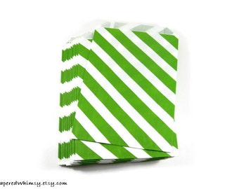 24 Green Stripe Paper Bags | Stripe Party Bag | Green Stripe Paper Bag | Party Favor Bag | Christmas Paper Bag | Paper Party Bag