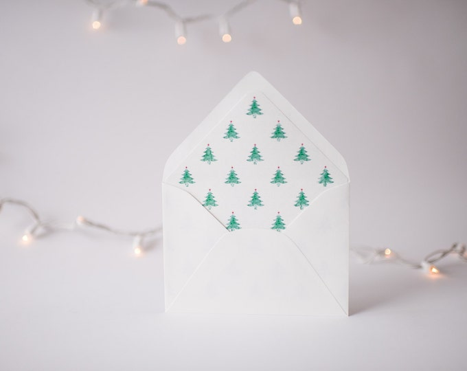 watercolor christmas tree lined envelopes / christmas holiday envelope liners (set of 10)