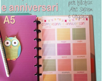 Organizer milestones-birthdays and anniversaries A5 format for filofax and Arc System-Birthday and Anniversaries size A5