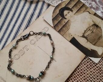 """Antique Skeleton Key Bracelet, Ivory and Teal Pearl, 8"""" Long"""