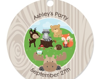20 Woodland Creatures Party Tags - Craft Tags for a Baby Shower or Birthday Party
