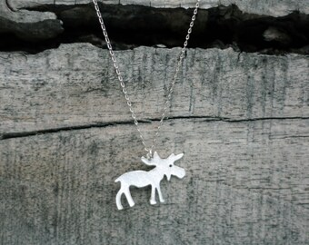 Silver Moose Necklace-Moose Jewelry-Silver Animal-Sterling Moose Necklace-Silver Elk Necklace-Moose Charm-Moose Pendant-Valentines Day Gift