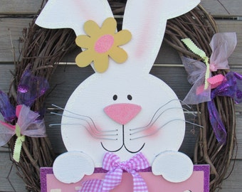 "18"" Easter Wreath Easter Bunny Welcome Wreath Welcome Easter Wreath Bunny Rabbit Wreath Easter Decor Easter Twig Wreath Pink Purple Wreath"