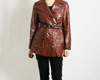 Vintage 70's 80's Cognac Brown Leather Collared Fitted Jacket Coat - Medium-Large