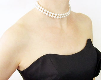 Hand Knotted Pearl Choker, Two Strand Pearl Choker, Hand Knotted Pearl Necklace, Grace Kelly Pearls, Swarovski Pearl Necklace