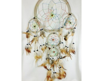 "Dream catcher /Large Rainbow Dreamcatcher with Feathers 8.5 ""diam.-24""long aprox./Atrapasueños/Good luck/Gift/Anniversary gift"