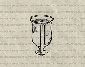 Tantalus Cup Vector Clipart Graphic Instant Download, Pythagorean Cup, Antique Prank Drinking Vessel Steampunk Illustration WEB1739AY