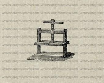Screw Press Vector Graphic Instant Download Clipart, Book Press Wine Press Machine Industrial Mechanical Victorian Illustration WEB1759AD