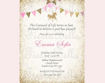 Carousel birthday invitation, pink, gold, glittter bunting.  Printable, DIY. Birthday, bridal shower, baby shower.