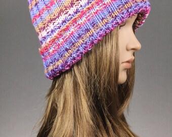 Women Hat Knit Hat Striped Knit Beanie Winter Hat Rainbow