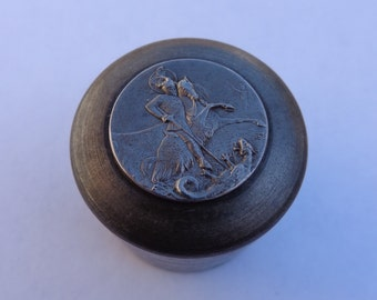 Authentic Fantastic 19th Century Knight Saint George And Dragon Iron Casting Seal ! One Of A Kind ! Original Mold ! Pendant Paper Weight !