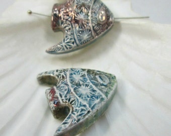 Raku Fish Pendant, Ceramic Angelfish Bead