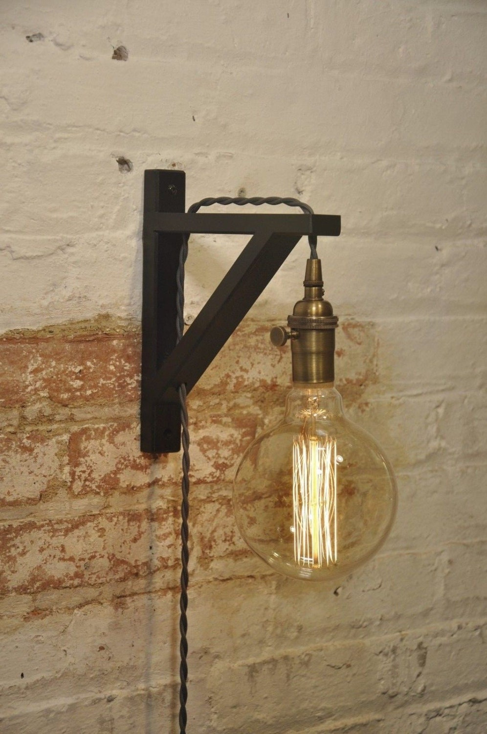wall sconce gray over brass light lamp industrial retro. Black Bedroom Furniture Sets. Home Design Ideas