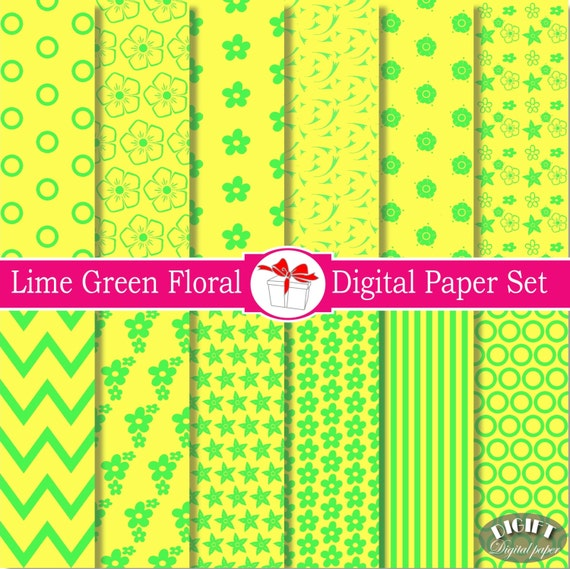 Lime Green flower Digital paper Floral Digital Paper Green and Yellow Flower Scrapbook Floral Design Floral decal flower decor Floral fabric