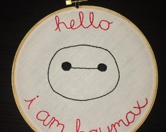Baymax Embroidery Hoop Art, Hand Embroidered, 7 inch Hoop