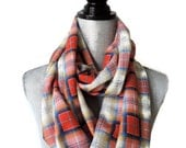 Yellow Red Blue Plaid Infinity Scarf  Cream Red Tartan Plaid Print Infinity Scarf