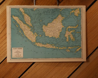 """1944 - East Indies Map - Large Map 10 x 14.5"""""""