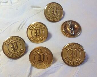 "Medium Metal City of Dallas Buttons. 1"""