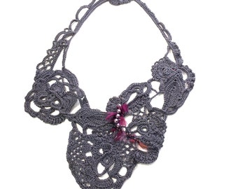 Free-Form Crochet  Statement Necklace in Rich Gray & Mauve