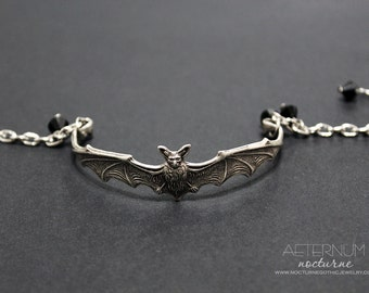 Halloween Bat Vampire Gothic Bracelet - in silver black Swarovski crystal beads - Victorian Gothic Jewelry