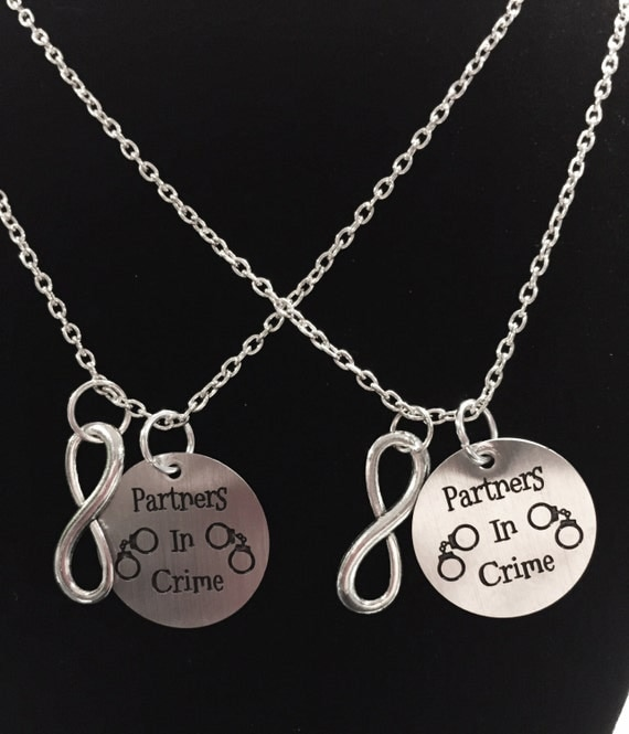 2 necklaces partners in crime infinity handcuff by
