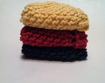 Dish Cloth Trio - Navy, Raspberry, and Buttercream