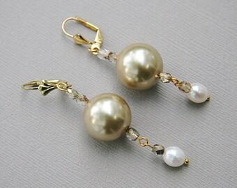 Champagne White Pearl Earrings, Crystal Jewelry, Gold Earrings, Bridal Jewelry, Bridal Earrings, Jewelry Gift, Wedding Jewelry, Birthstone