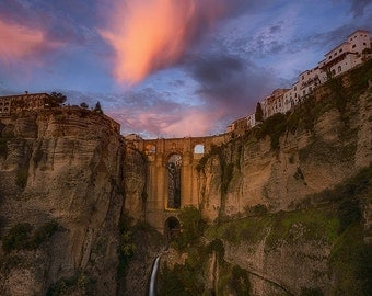 Legend of Ronda, New Bridge, Puente Nuevo, Malaga, Andalucia, Spain, España, Hill Town, Sunset - Travel Photography, Print, Wall Art