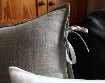 Natural linen sham - euro shams - rustic bedding - undyed linen pillow cover by Linenspace | 0020