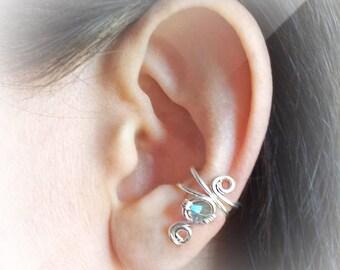 Silver Ear Cuff Swarovski Crystal Chrysolite Silver plated Ear Wrap