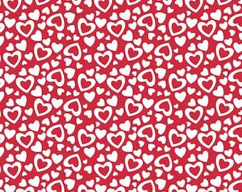 Riley Blake Valentine Fabric, Holiday Hearts Fabric, C561 Red Hearts Fabric, Valentine Hearts Fabric, Valentines Day Fabric, Red Fabric