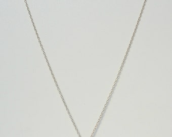 Long Sterling Silver Necklace with Grey Freshwater Pearl