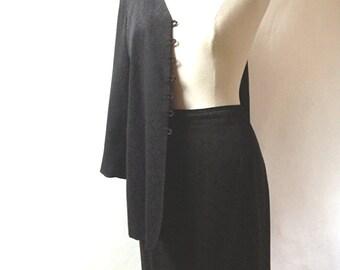 Vintage Black JACKET SKIRT SUIT - Size 12 (Us)