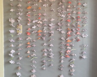 Hanging Paper Flowers- Ceremony Backdrop-  Photo Backdrop - Garland- Decoration