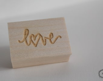 Love Stamp -  Hand Lettered Stamp - Lettered Love Stamp
