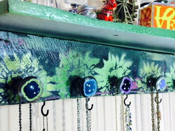 floating shelves Pallet wood decor/Wall hanging shelf /makeup organizer/ reclaimed wood art jewelry holder stenciled mums 7 knobs 9 hooks