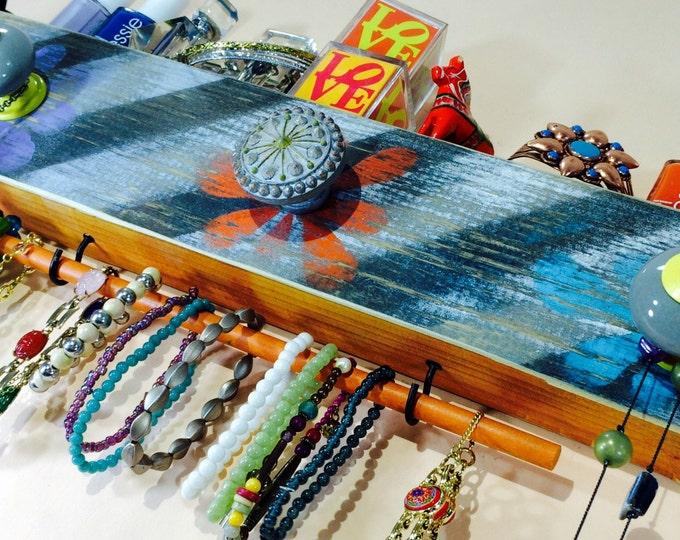 Necklace holder wall hanging organizer /reclaimed wood decor /jewelry storage /scarf hanger stenciled flowers 3 knobs 2 hooks bracelet bar