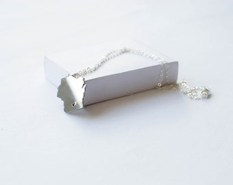 State Necklace! Wisconsin Necklace! Sterling silver chain